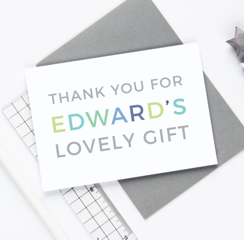 Personalised 'Lovely Gift' Thank You Card