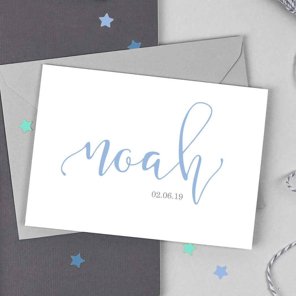 Baby Boy Name and Date Card