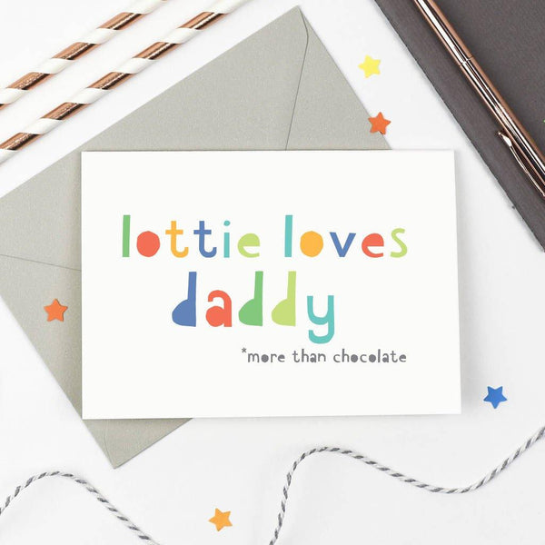 Personalised 'Loves Daddy' Card
