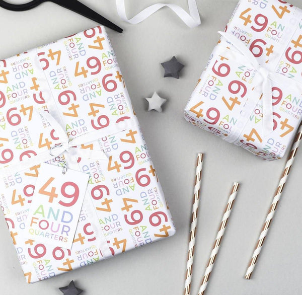 50th Birthday '49 And Four Quarters' Wrapping Paper Set
