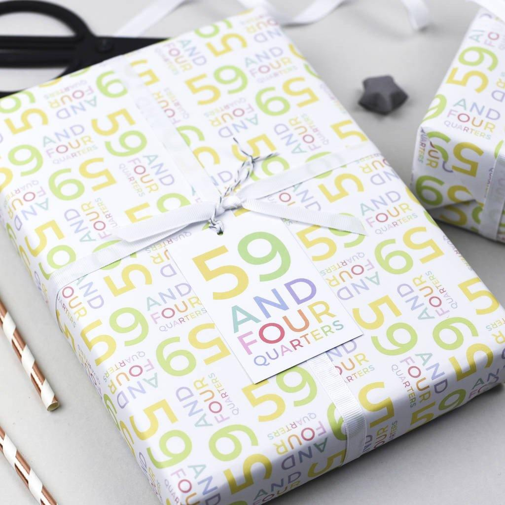 60th Birthday '59 And Four Quarters' Wrapping Paper Set