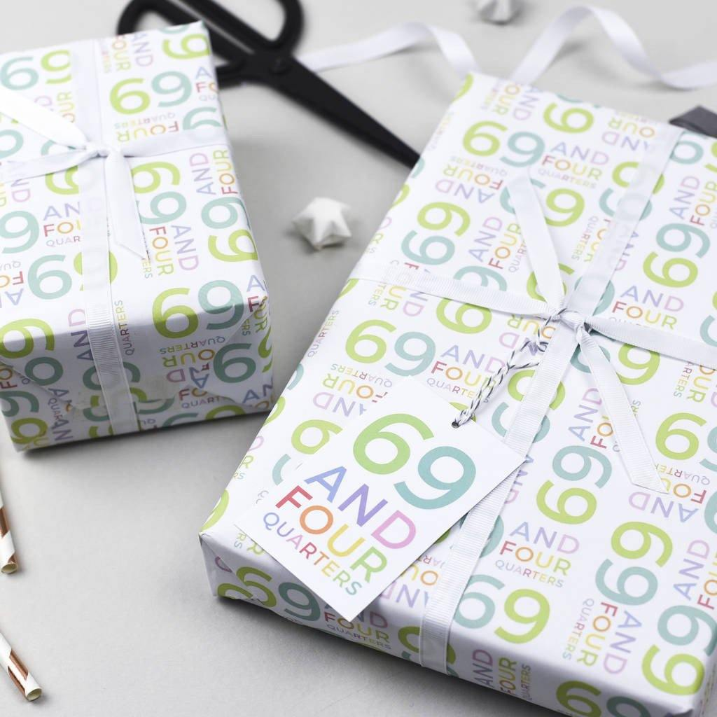 70th Birthday '69 And Four Quarters' Wrapping Paper Set