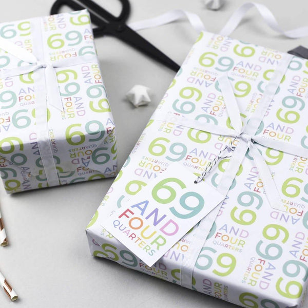 70th Birthday - 69 And Four Quarters Wrapping Paper Set - Studio 9 Ltd