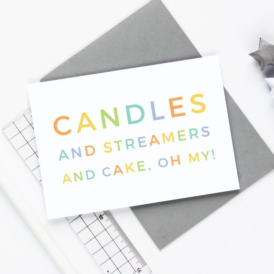 Candles and Streamers and Cake Birthday Card