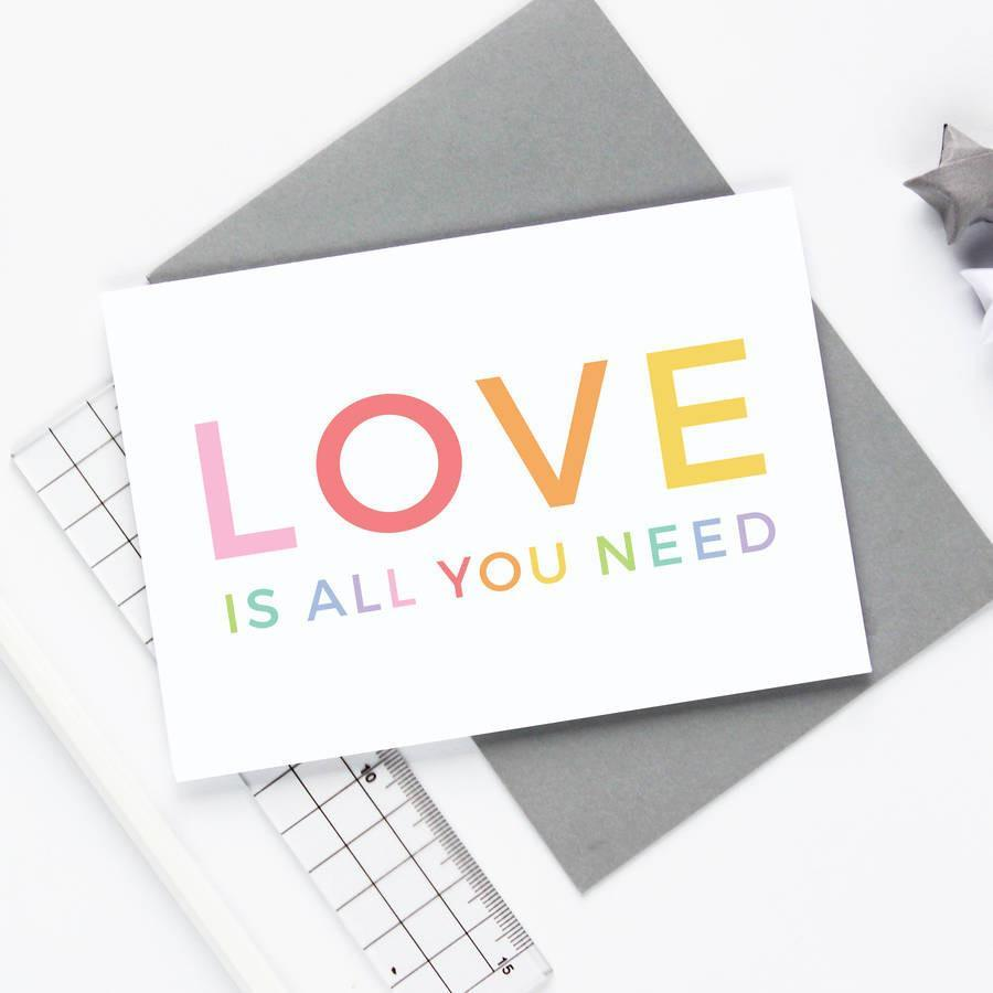 Love Is All You Need Wedding Card - Studio 9 Ltd