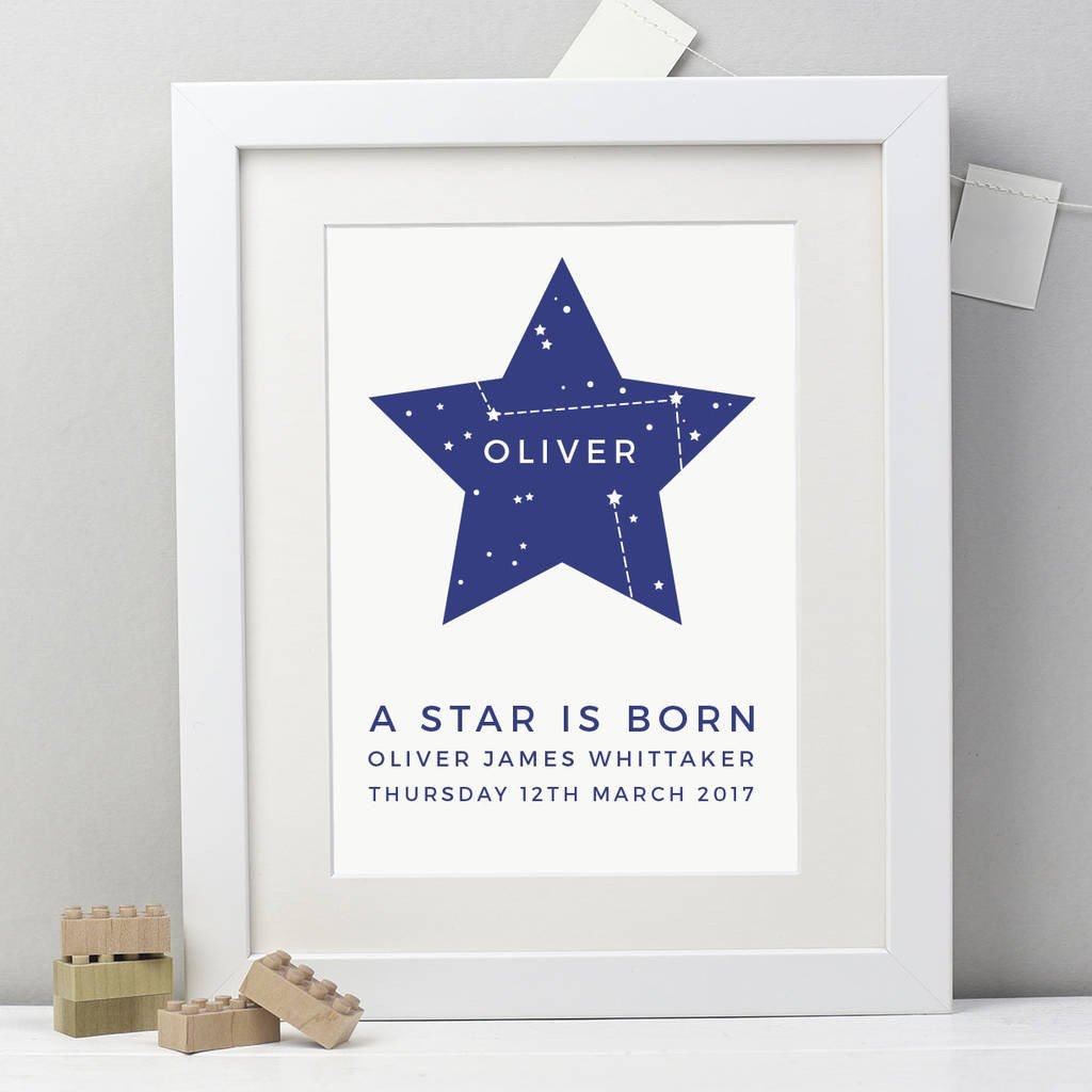 Personalised 'Star Is Born' Print - Studio 9 Ltd