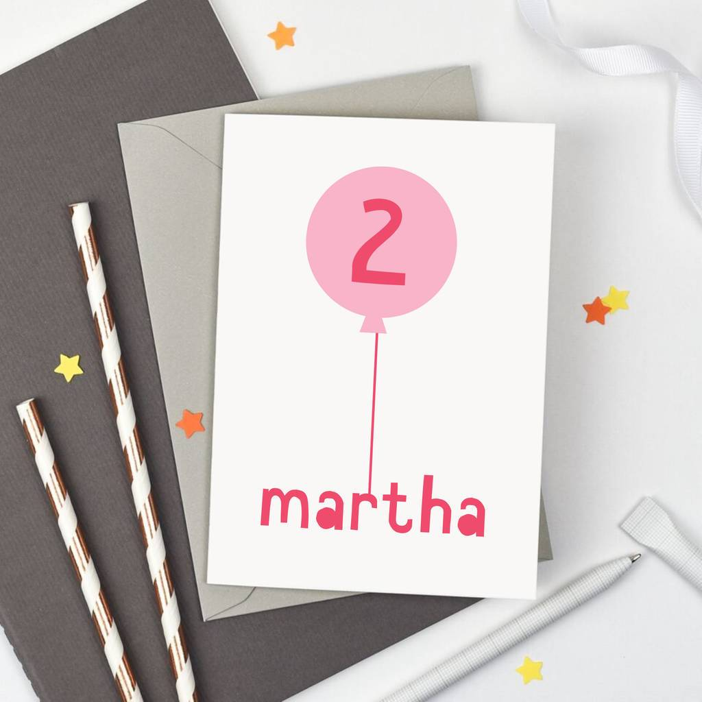 Personalised Birthday Balloon Card - Studio 9 Ltd