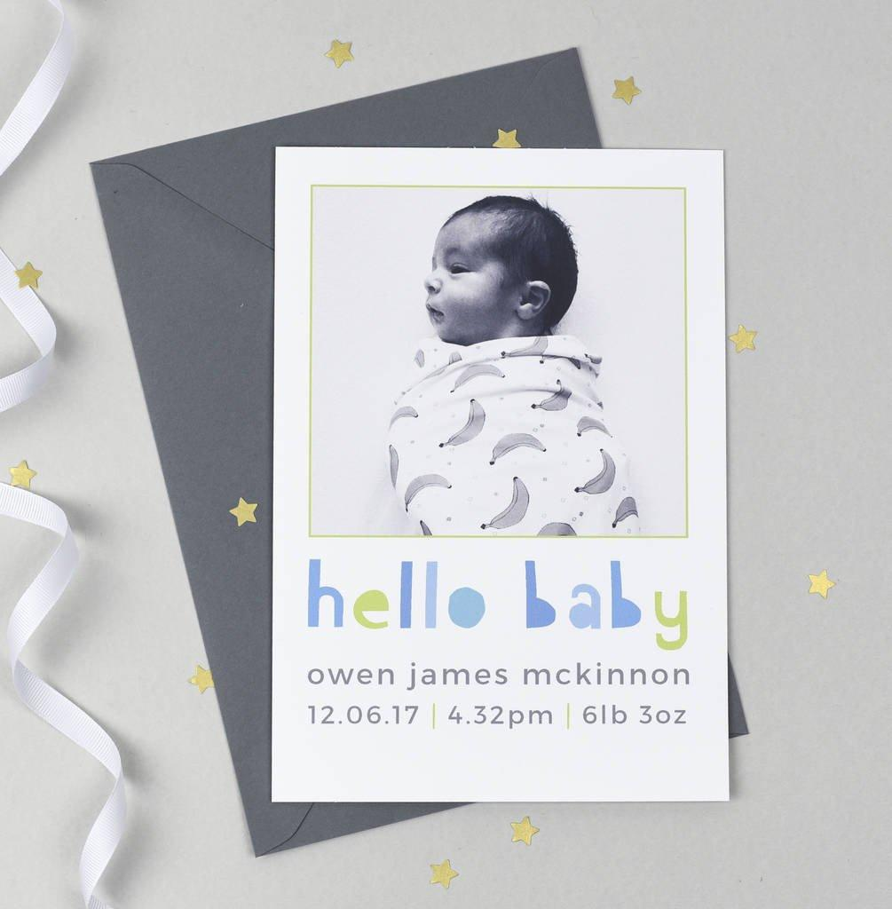 Personalised 'Hello Baby' Photo Birth Announcements