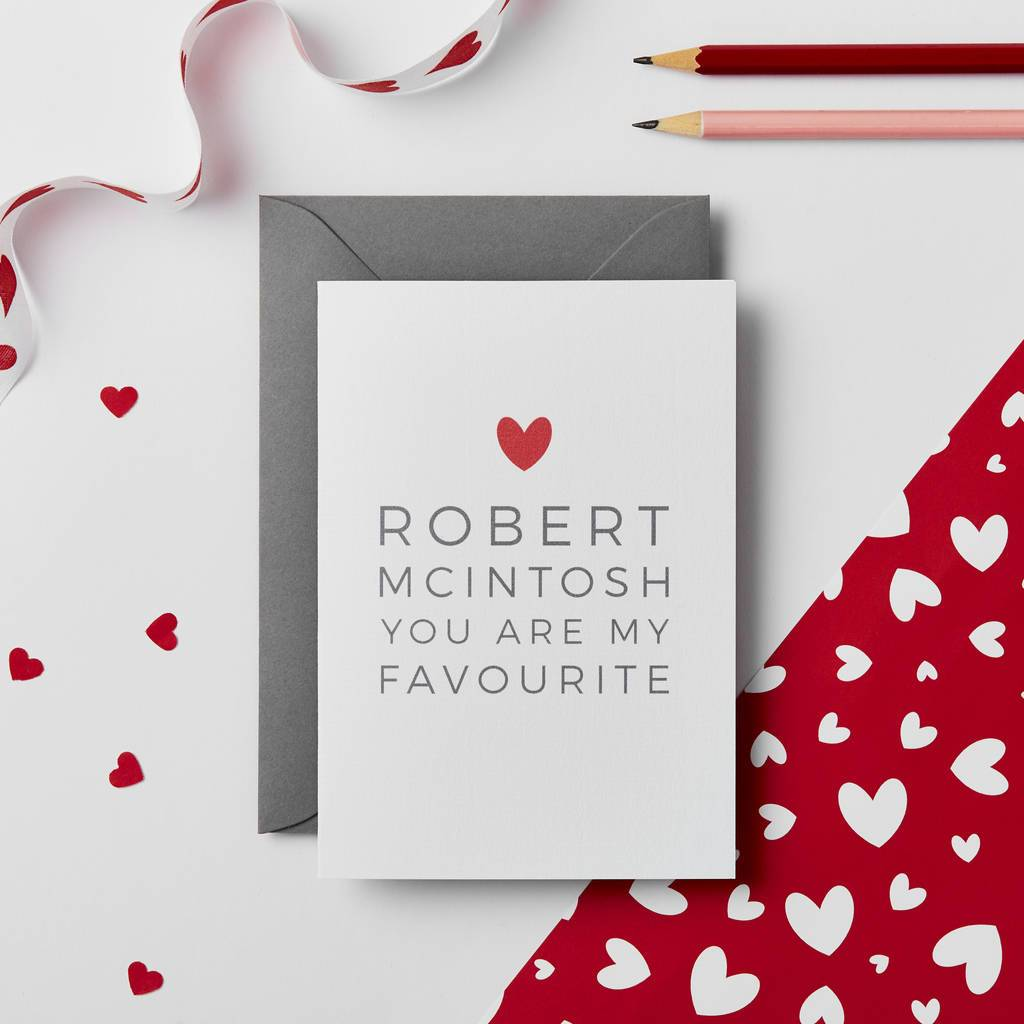 Personalised 'My Favourite' Valentines Card - Studio 9 Ltd