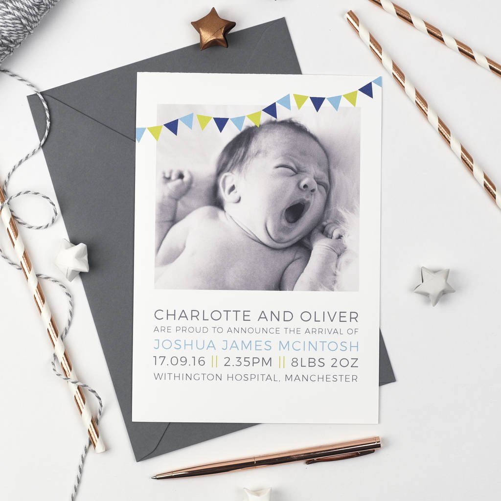 Personalised Photo Birth Announcements