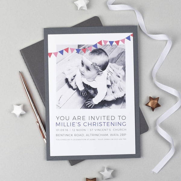 Personalised Photo Christening Invitations
