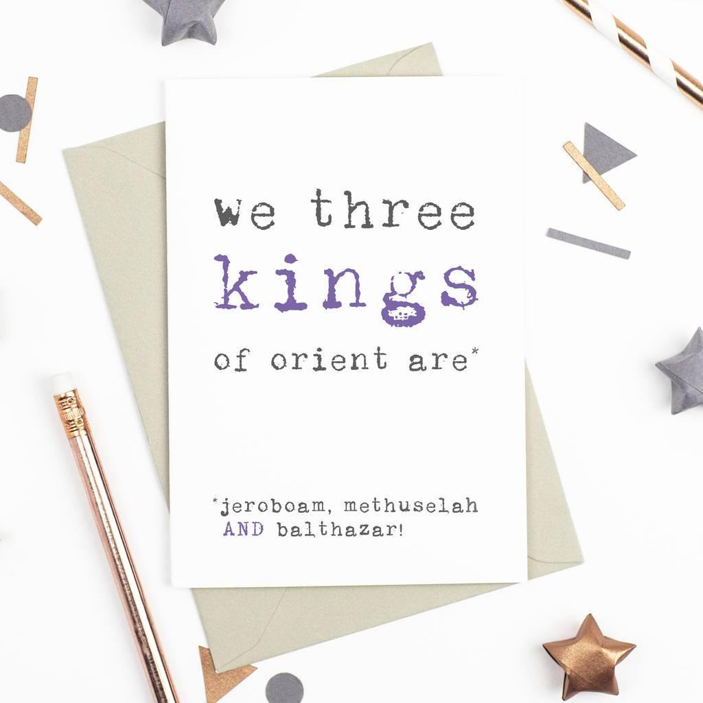 'We Three Kings' Champagne Christmas Card - Studio 9 Ltd