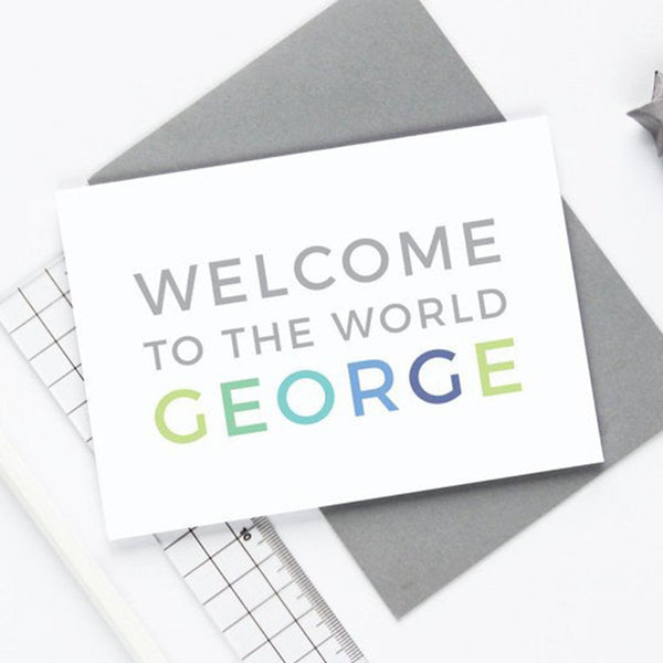 Personalised Welcome to the World Boy Card
