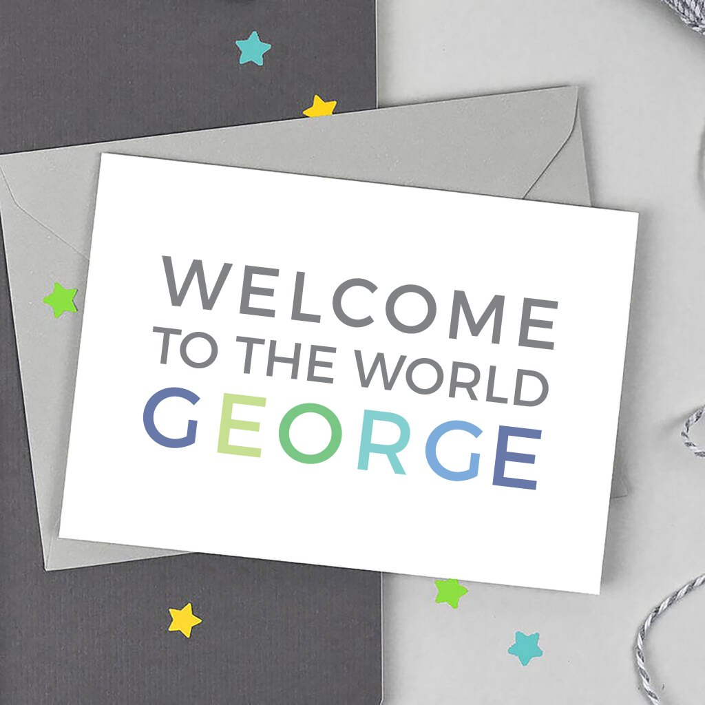 Personalised Welcome to the World Boy Card - Studio 9 Ltd