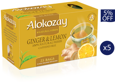 Ginger Lemon Tea - 25 Tea Bags x 5