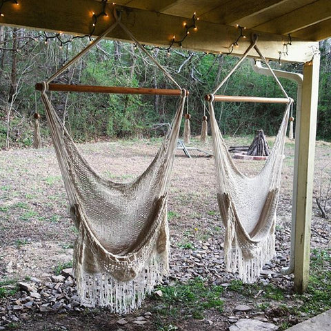 two macrame hanging chair