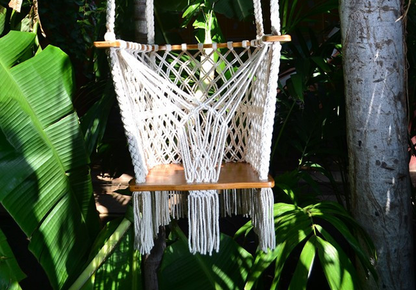 Handmade Baby Swing Organic Off-White Cotton Indoor/Outdoor Swing - Mission Hammocks - 1