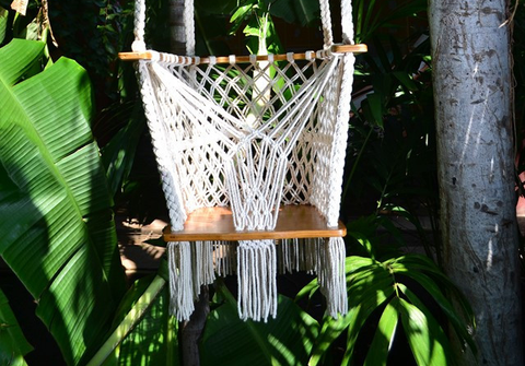 Handmade Baby Swing Organic Off-White Cotton Indoor/Outdoor Mission Hammocks - Mission Hammocks - 1