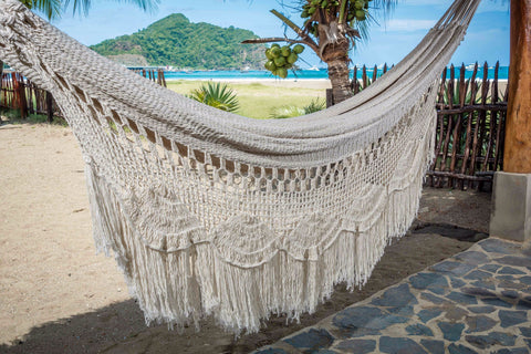 Macrame Hammock, Mayan Double Hammock Indoor/Outdoor Cotton Hammock - Mission Hammocks - Mission Hammocks