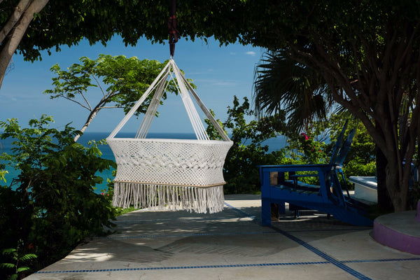 Baby Hanging Bassinet, Hanging Cradle, Hanging Crib 100% Handmade Organic Cotton - Classic - Mission Hammocks
