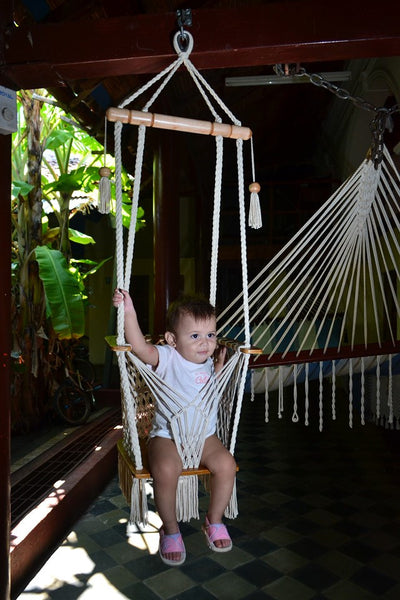 Handmade Baby Swing Organic Off-White Cotton Indoor/Outdoor Swing - Mission Hammocks - 3