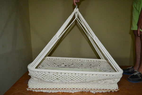 Baby Hanging Bassinet, Hanging Cradle, Hanging Crib 100% Handmade Organic Cotton - Classic - Mission Hammocks - 4