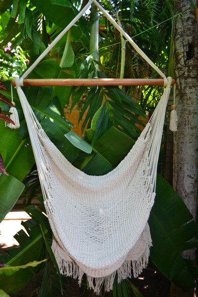 Hanging Hammock Chair With Macrame **Solid Color** Swing Chair Mission Hammocks - Mission Hammocks - 2