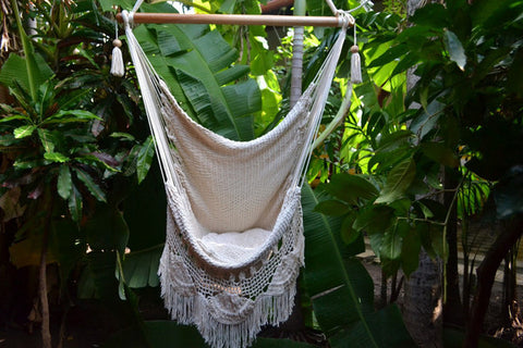 Hanging Hammock Chair With Macrame **Solid Color** Swing Chair Mission Hammocks - Mission Hammocks - 1