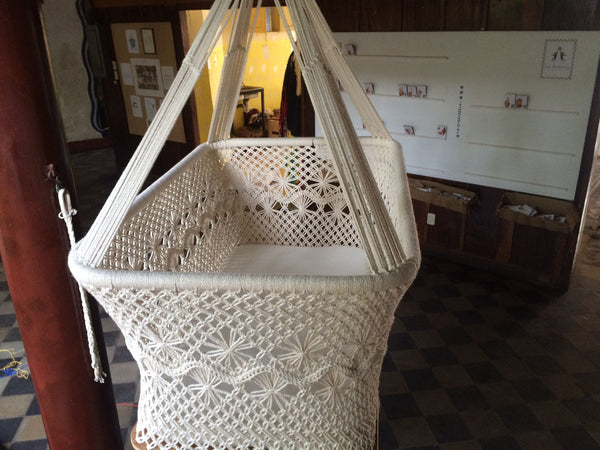 Baby Hanging Bassinet, Hanging Cradle, Hanging Crib 100% Handmade Organic Cotton - Classic - Mission Hammocks - 5