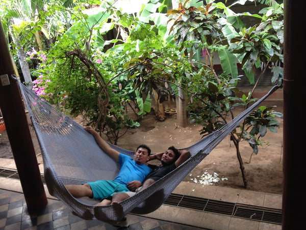 Light Blue Mayan Double Hammock Indoor/Outdoor Cotton Hammock - Mission Hammocks - Mission Hammocks - 4