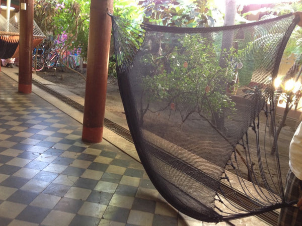 Black Mayan Double Hammock Indoor/Outdoor Cotton Hammock - Mission Hammocks - Mission Hammocks - 1