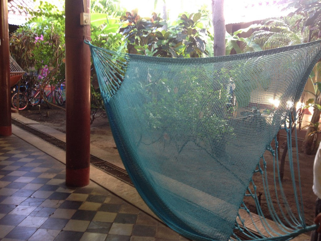 Light Blue Mayan Double Hammock Indoor/Outdoor Cotton Hammock - Mission Hammocks - Mission Hammocks - 1