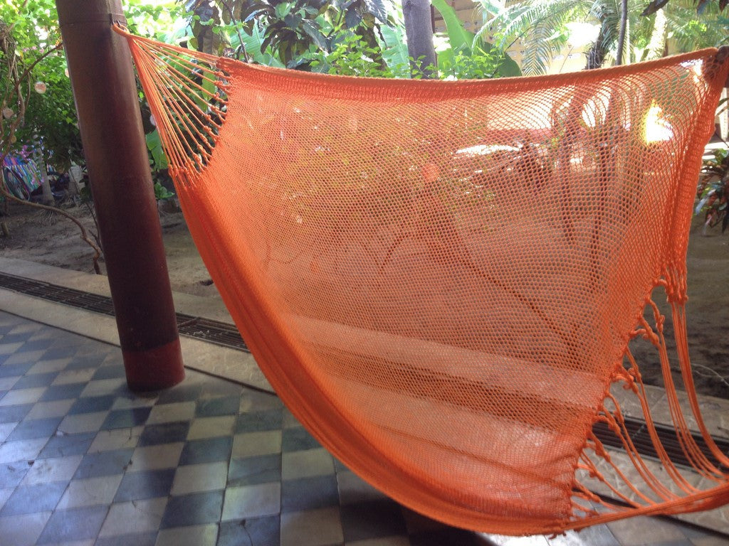 Orange Mayan Double Hammock Indoor/Outdoor Cotton Hammock - Mission Hammocks - Mission Hammocks - 1