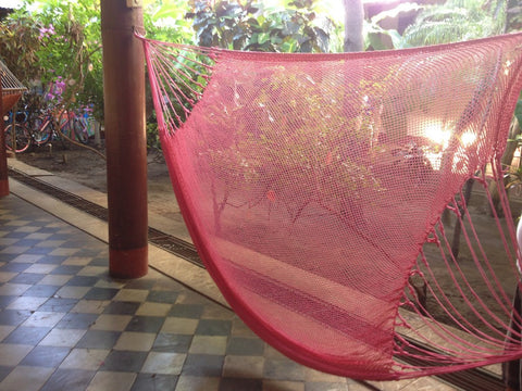 Pink Mayan Double Hammock Indoor/Outdoor Cotton Hammock - Mission Hammocks - Mission Hammocks - 1