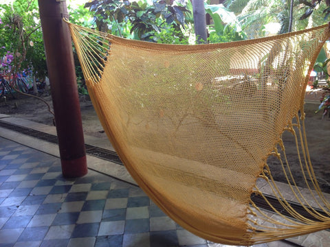 Yellow Mayan Double Hammock Indoor/Outdoor Cotton Hammock - Mission Hammocks - Mission Hammocks - 1