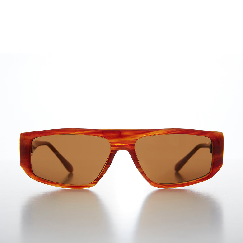 Beatnik Flat Top Hipster Brown Mahogany Vintage Sunglass