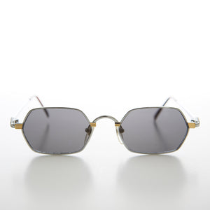 Gold Silver Hexagon Vintage Optical Quality Sunglass