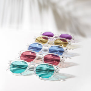 Group photo of colored lens Benson sunglass