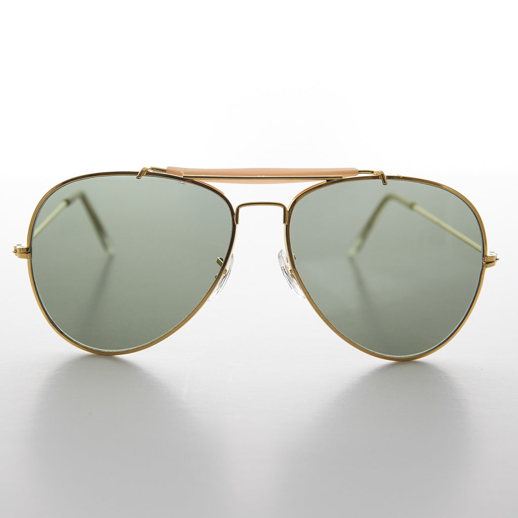 gold vintage aviator sunglass with brown bar