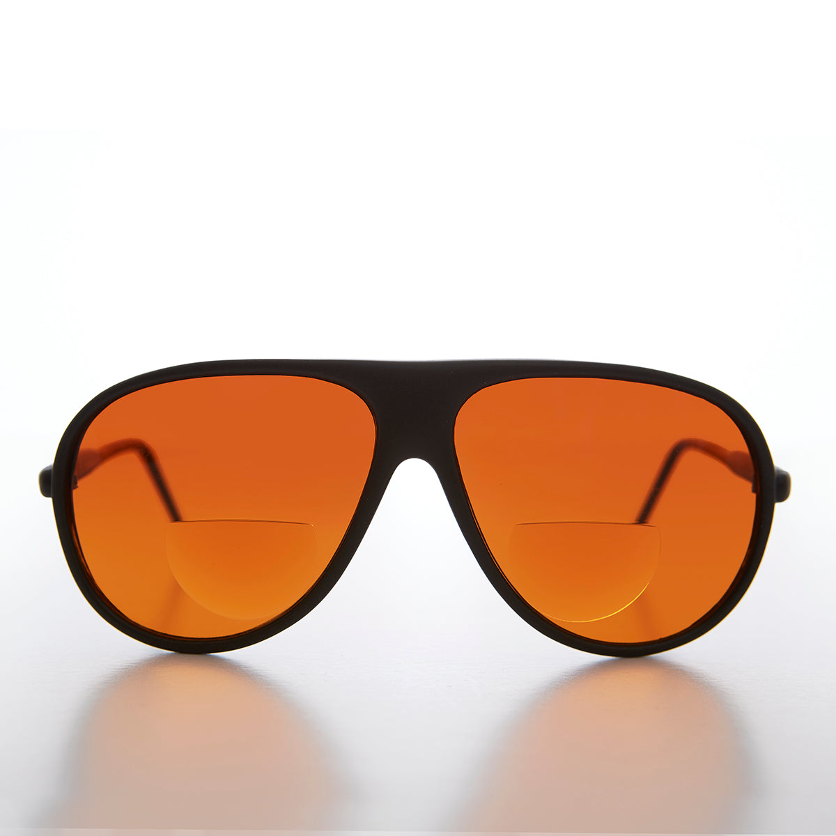 Aviator Bifocal Reading Sunglass with Blue Blocking Amber Lens