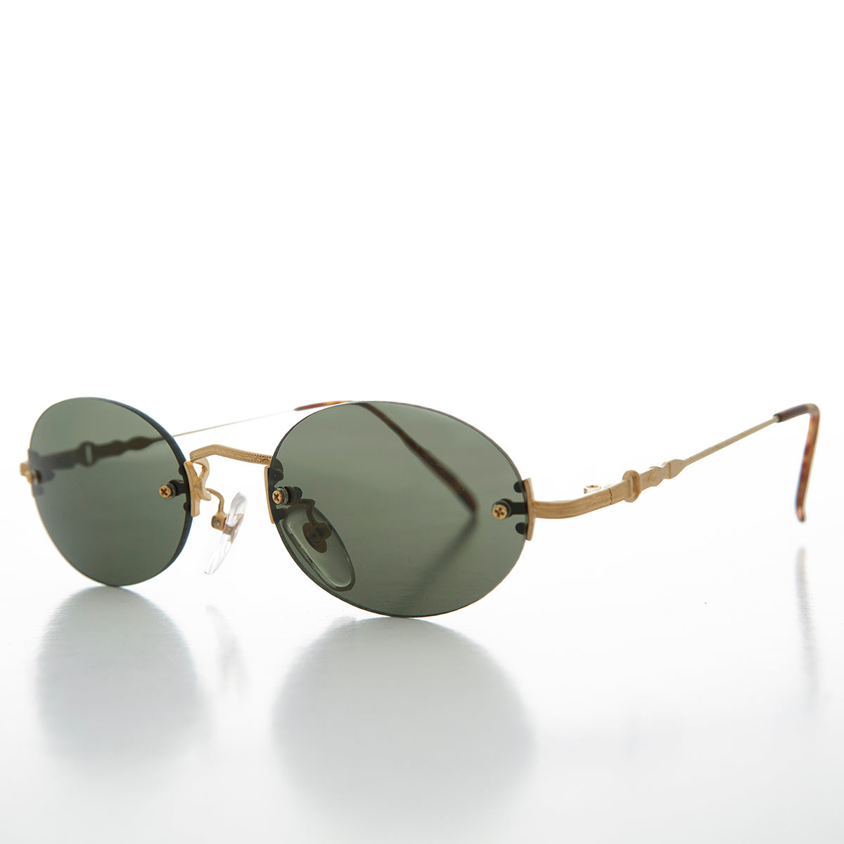 Chic Oval Rimless 90s Minimalistic Vintage Sunglass