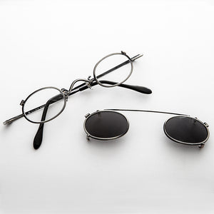 Small Round Clip on Vintage Sunglass & RX Optical Glasses - Ansel