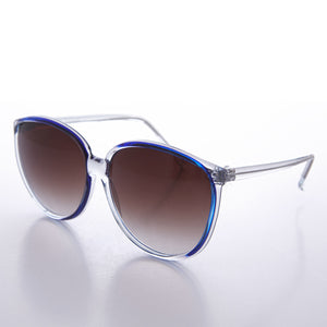 Round Large Women's Clear Frame 80s Vintage Sunglass -  April