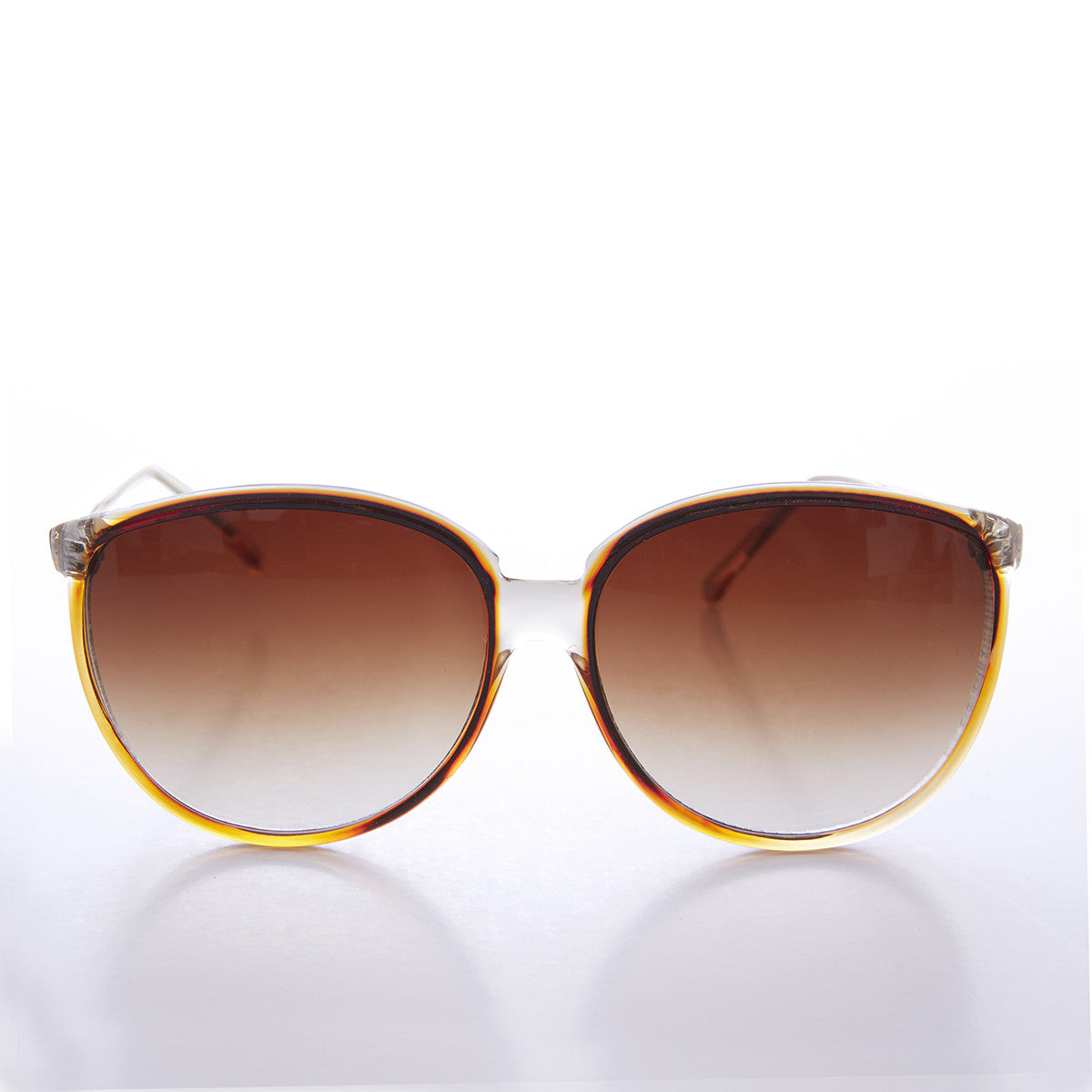 Round Large Women's Clear Frame 80s Vintage Sunglass