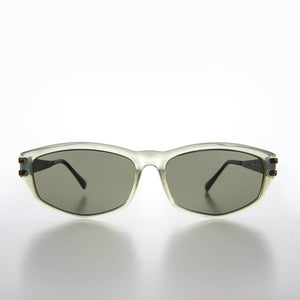 Rectangular Sunglass with Art Deco Etched Temples