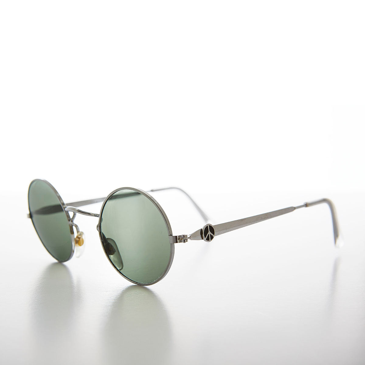Silver John Lennon Sunglasses with Peace and Glass Lens