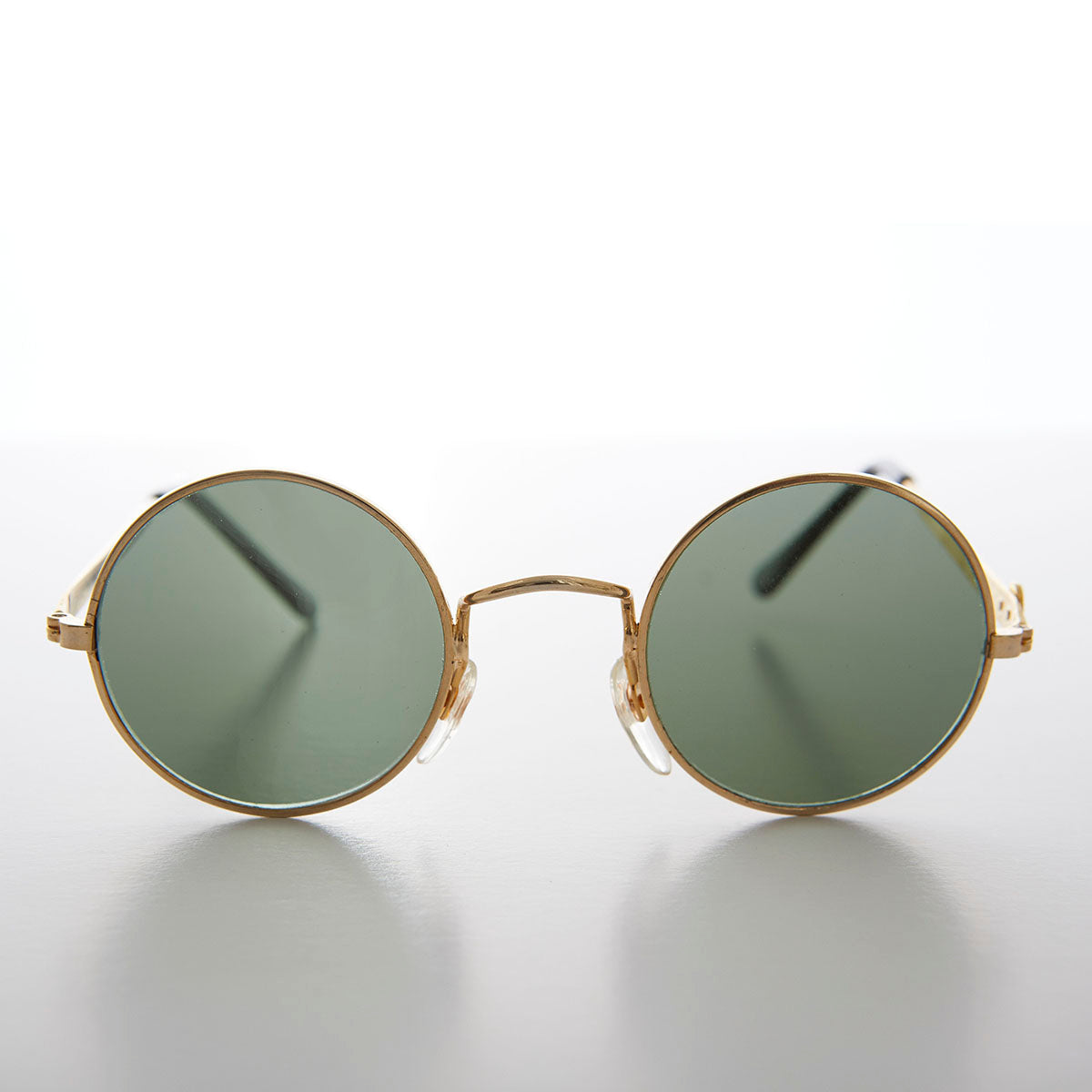 Gold John Lennon Sunglasses with Peace and Glass Lens
