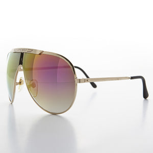 gold glam vintage aviator sunglass with pink mirror lens