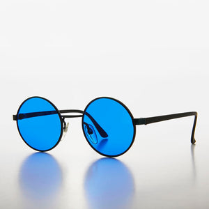 Round Hippie Sunglass with Blue Colored Lenses