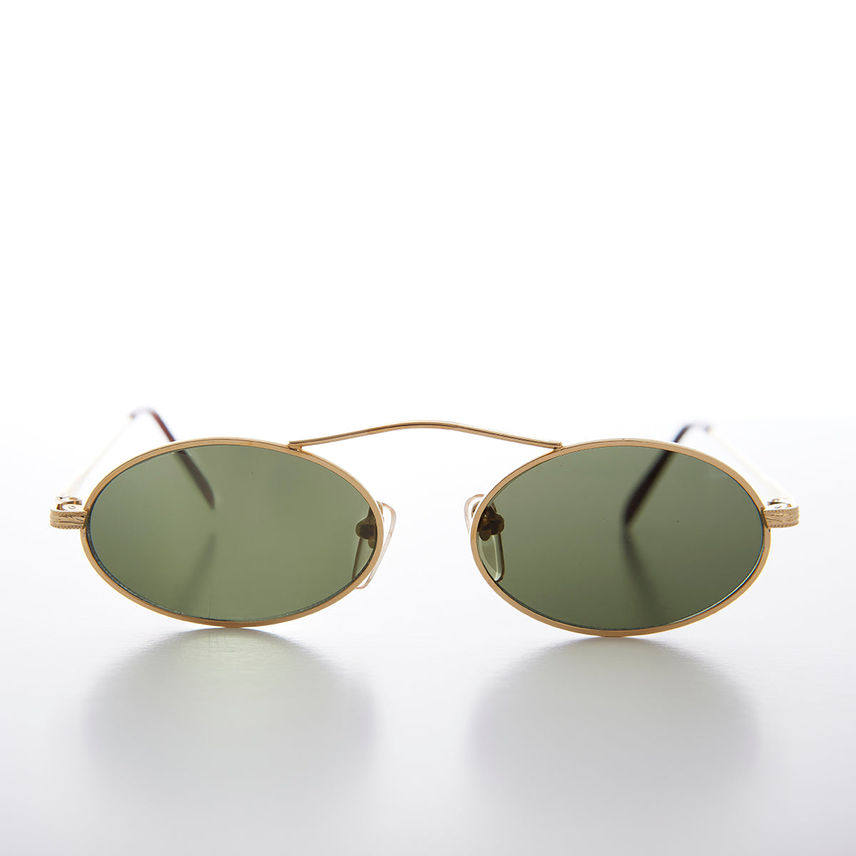 90s Oval Metal Aviator Sunglass with Floating Cross Bar